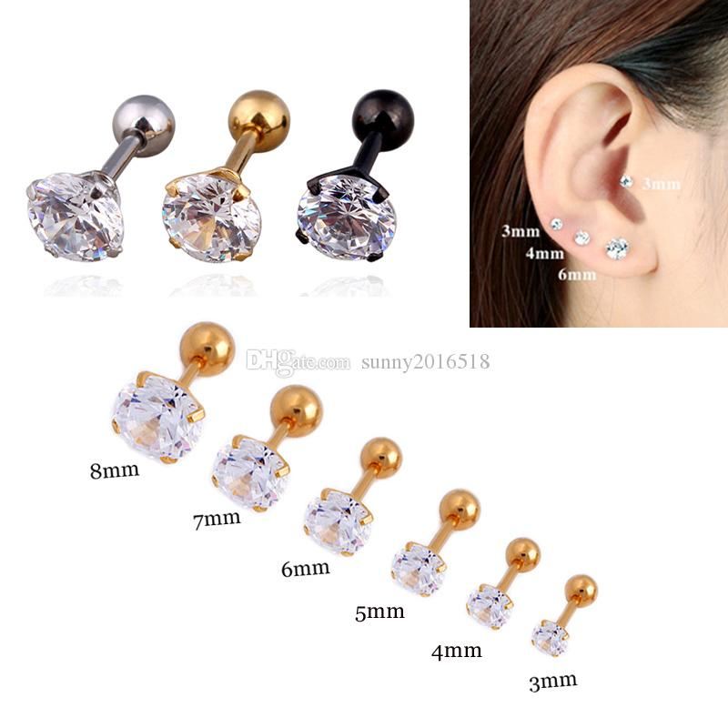 2019 3mm 8mm Silver Gold Black Titanium Steel Barbell Cubic Zircon