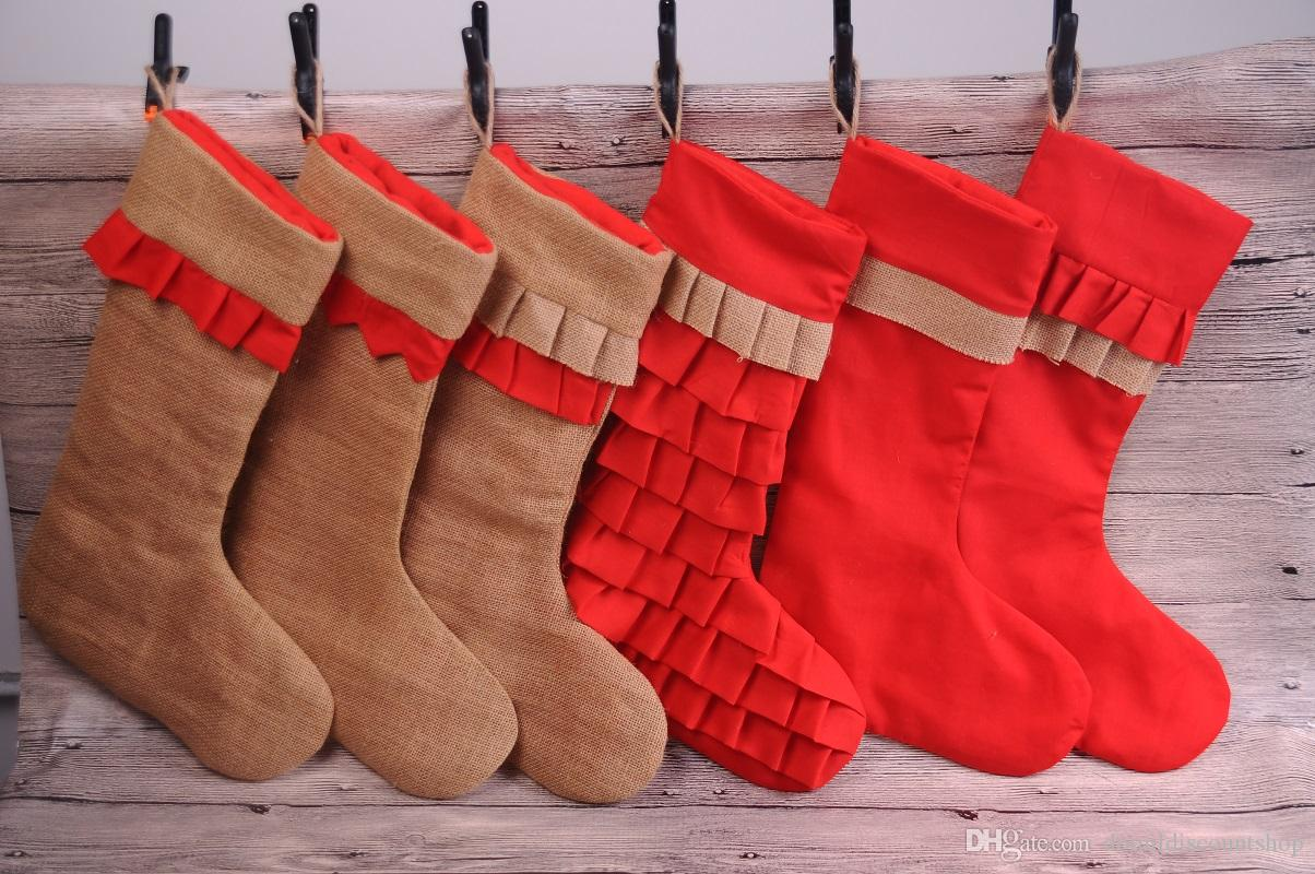 Wholesale Blanks Christmas Stocking Burlap Ruffle Santa Stockings Children Gift Bags Hang On The Wall Dom103690