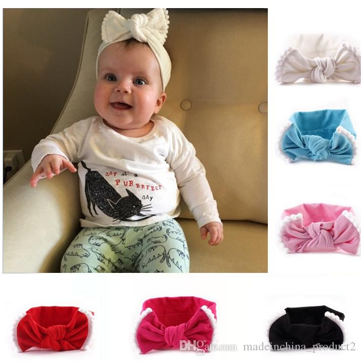 Fashion Infant Bow Knot Headband Contrast Color Flower Edge Hair band Baby Hair Accessories Free Shipping