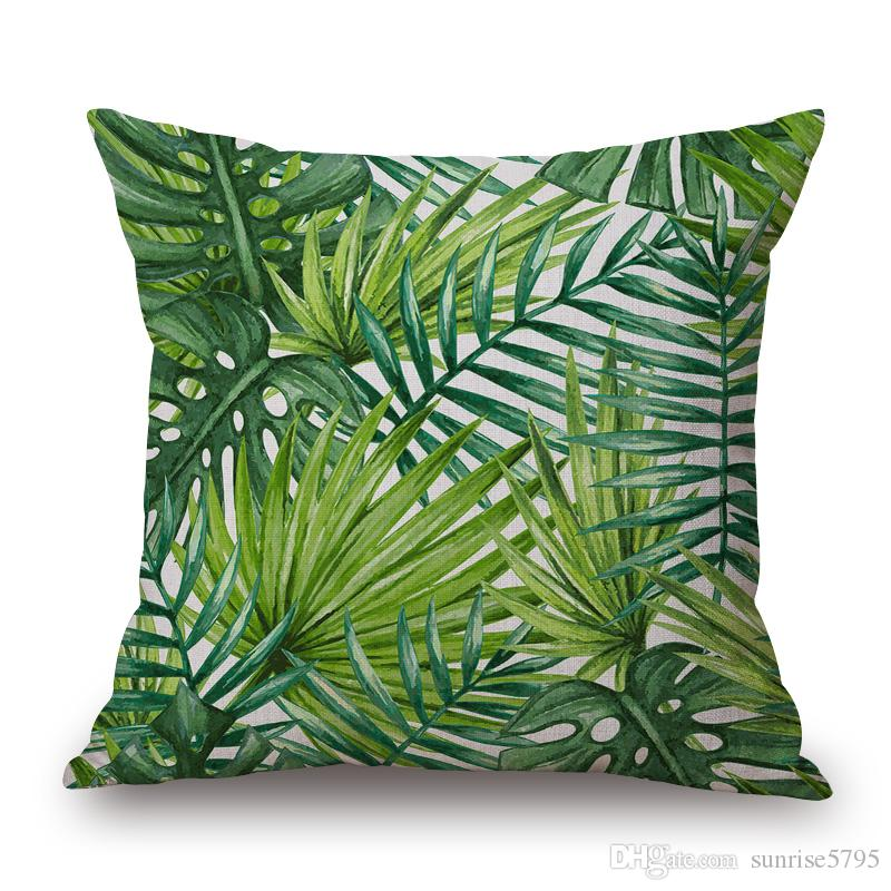 green country decoration cushion cover nature foliage decorative pillows case spring summer leaf chair couch almofada 45cm cojin