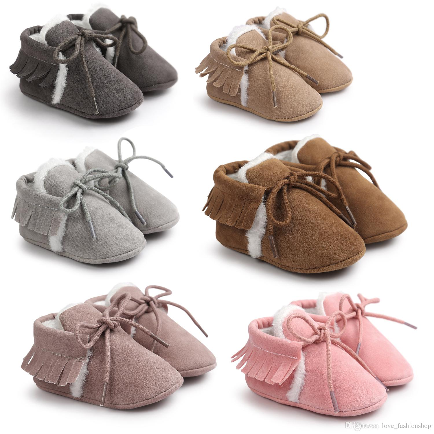 6 Colors Baby kids shoes Moccasins Warmer Soft PU Coral fleece first walker prewalker booties toddler girls Shoes Christmas gift