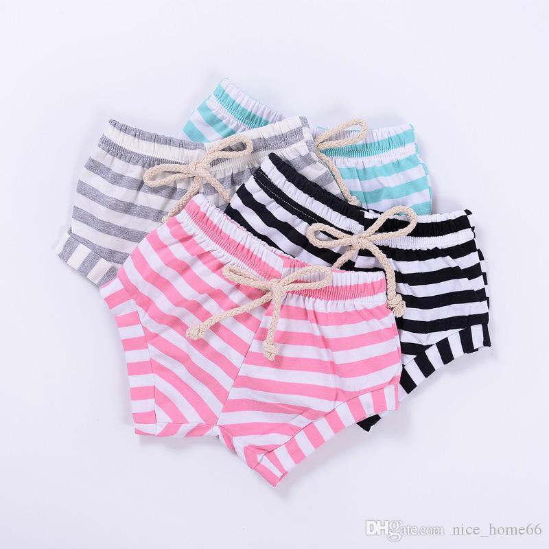 Mode BoysGirls Rayé Motif Solide Shorts Bébé Garçons Filles Pantalons Mini Shorts Bread Shorts Bébé Vêtements D'été