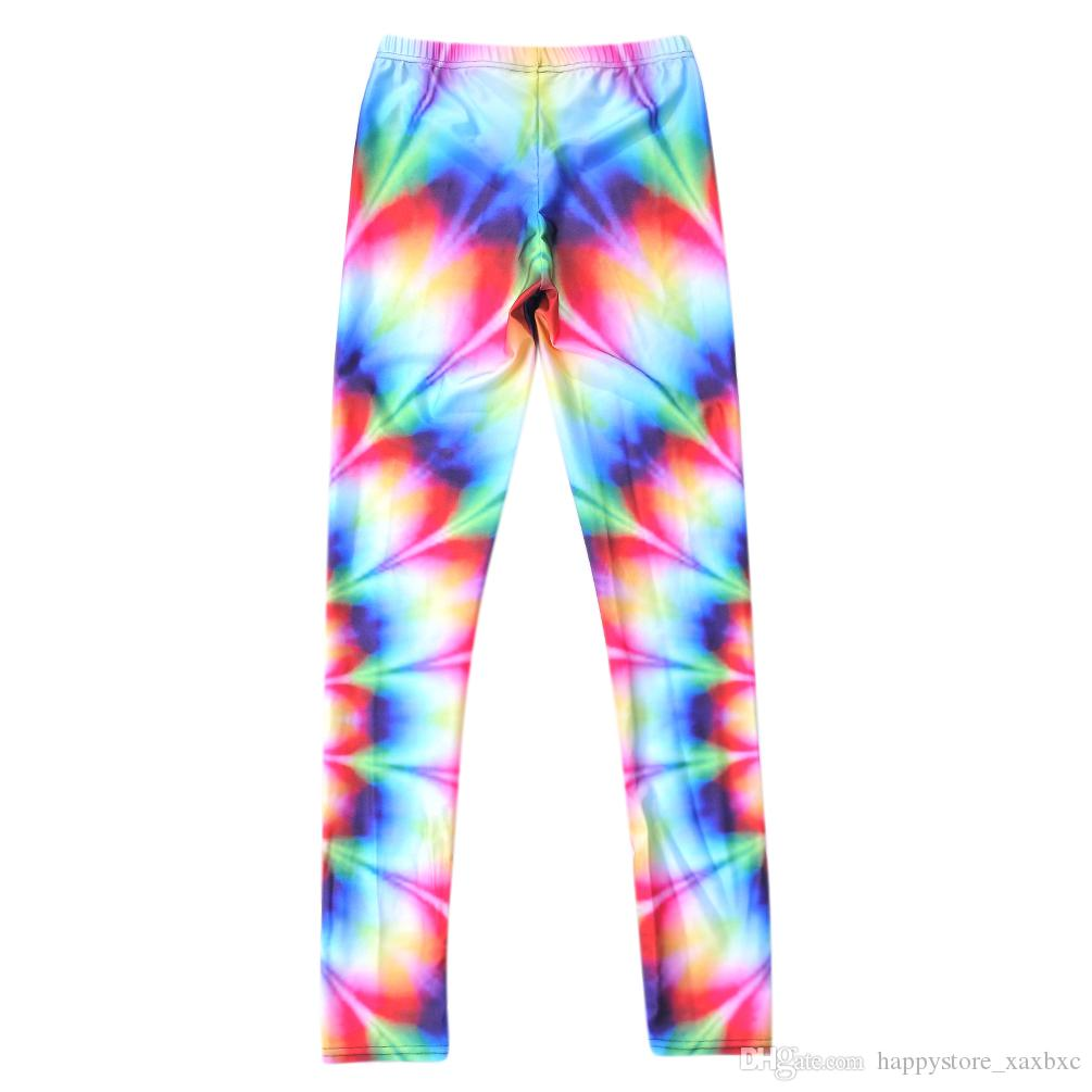 2017 NEW ful Rainbow Color wave Flower Prints Sexy Girl Pencil Yoga Pants GYM Fitness Workout Polyester Women Leggings Plus Size