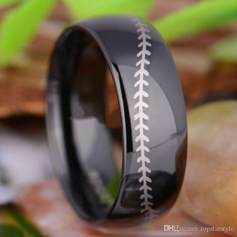 Fabbrica cinese diretta all'ingrosso nero incisione laser carburo di tungsteno anello di barretta di modo anello di gioielli in tungsteno 8mm