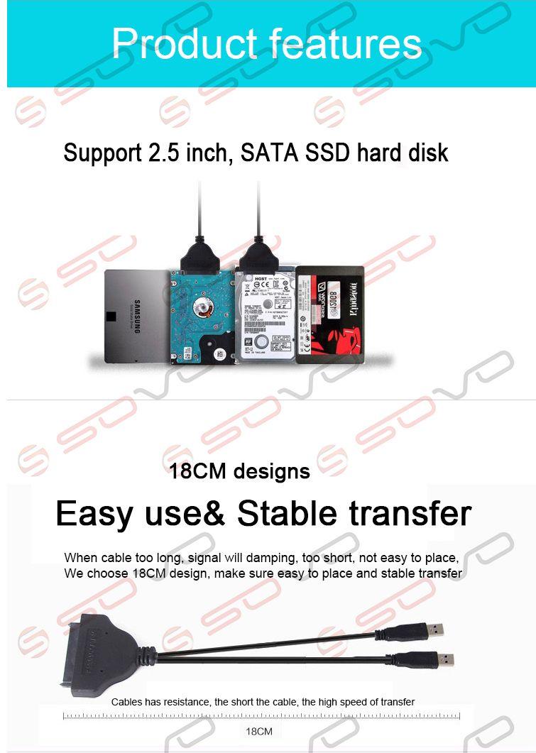 Cable USB a SATA Transferencia de datos USB 2.0 a cable SATA 7 + 15P Admite 2.5 pulgadas, disco duro SATA SSD