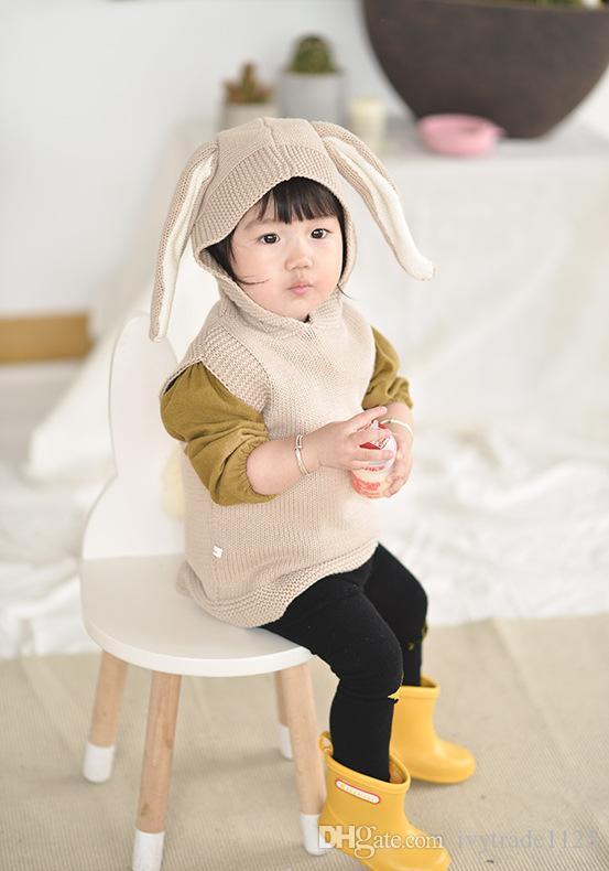 Stokta 2 renk INS stilleri yeni varış 100% Pamuk tavşan kulak kapüşonlu boyun kazak yelek çocuklar kız rahat sevimli kapüşonlu boyun kazak Yelek