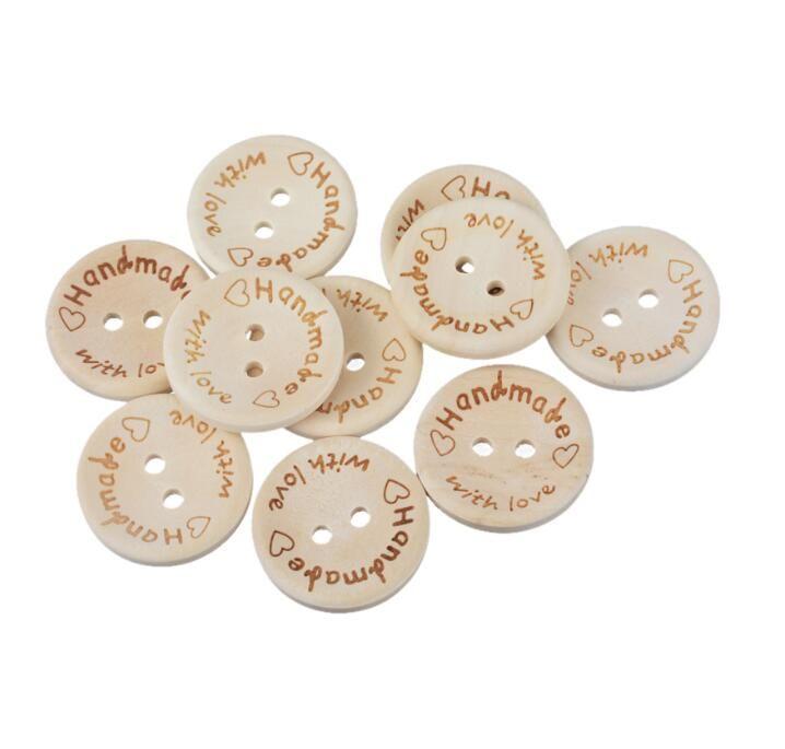 Cor Natural Botões De Madeira Artesanal Carta Amor Botones Scrapbooking Para Decoração de Casamento 15mm / 20mm / 25mm Acessórios de Costura
