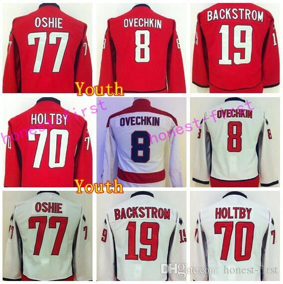 quality design 563e5 c4c72 Youth T J Oshie Jersey 77 Hockey 8 Alex Ovechkin Jerseys Children 19  Nicklas Backstrom 70 Braden Holtby Team Color Red Road Away White