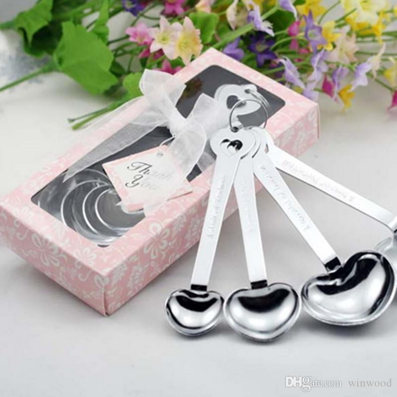 2017 Measuring Spoons Set Wedding Favors Party Gifts Heart Shaped