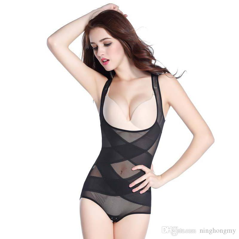 310b0e5d71 2019 Women Bodysuits Underwear High Waist Training Siamese Body Sculpting  Thin Gauze Seamless Postpartum Care Chest Abdomen Hip Slimming Corset From  ...