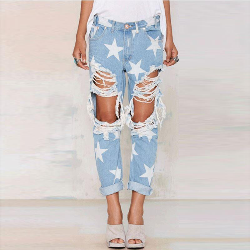 482df6f93f75e High Waist Jeans Woman Ripped Jeans 2018 Spring Summer Europe Style ...