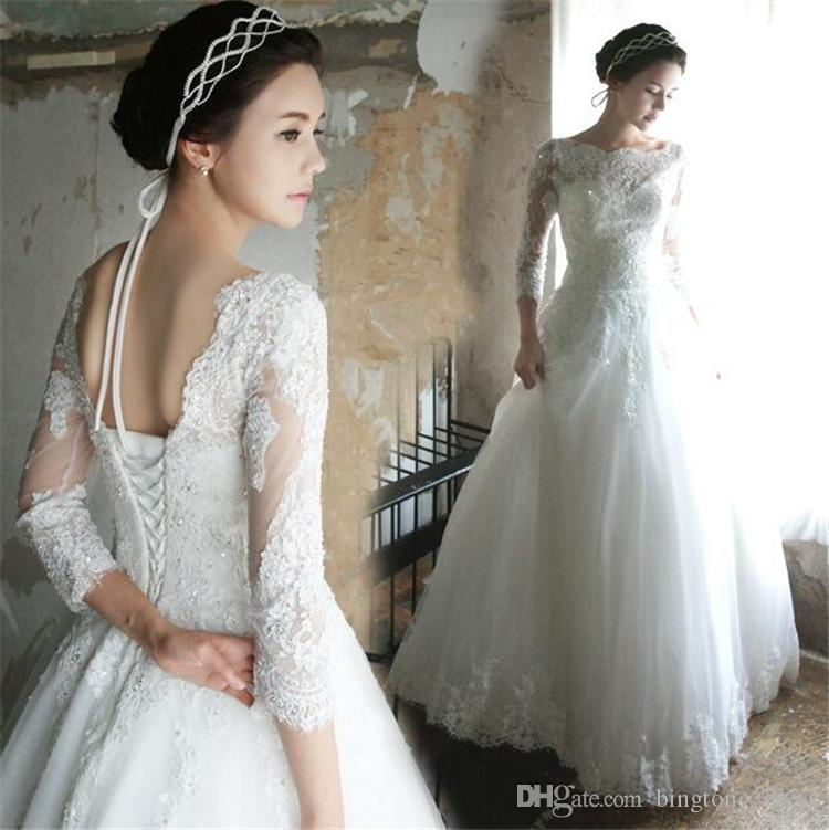 2016 Vintage Pnina Tornai Ball Gown Wedding Dresses Beads Corset Bandage Long Sleeve Lace Applique Country