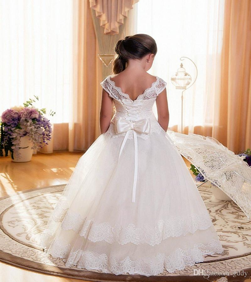 Flower Girls Dresses Ivory and Champagne tulle Bottom Gold Sequins Top Sleveless Ball Gown Floor-Length with Bow Girls Party Dress