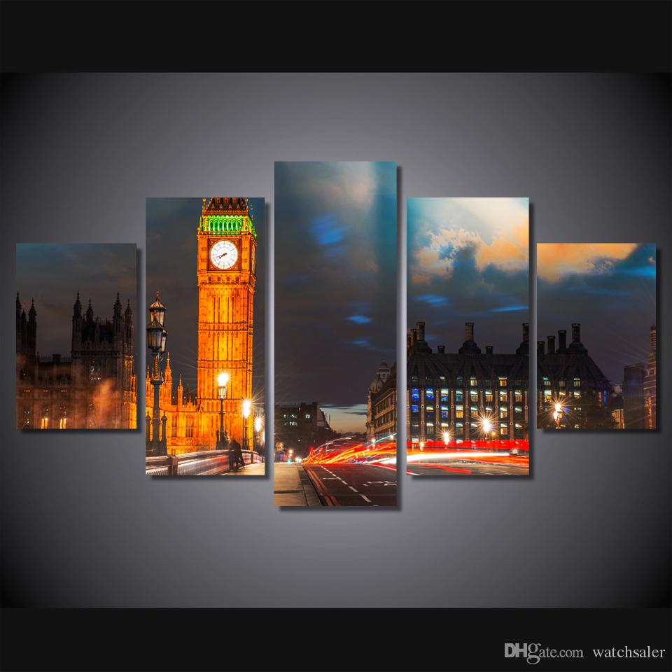 Framed HD Printed London City Night Building Poster Picture Wall Art Canvas Print Room Decor Poster Canvas Painting