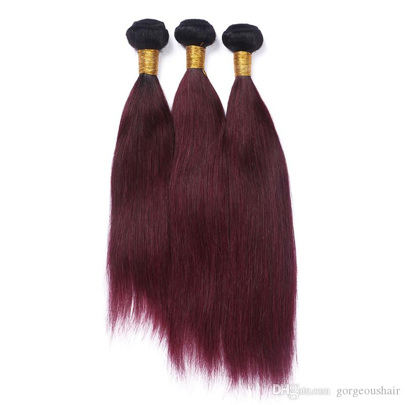 Silk Straight Ombre Brazilian Virgin Hair #1B/99J Wine Red Ombre Human Hair Weave Bundles Two Tone Burgundy Ombre Hair Extensions