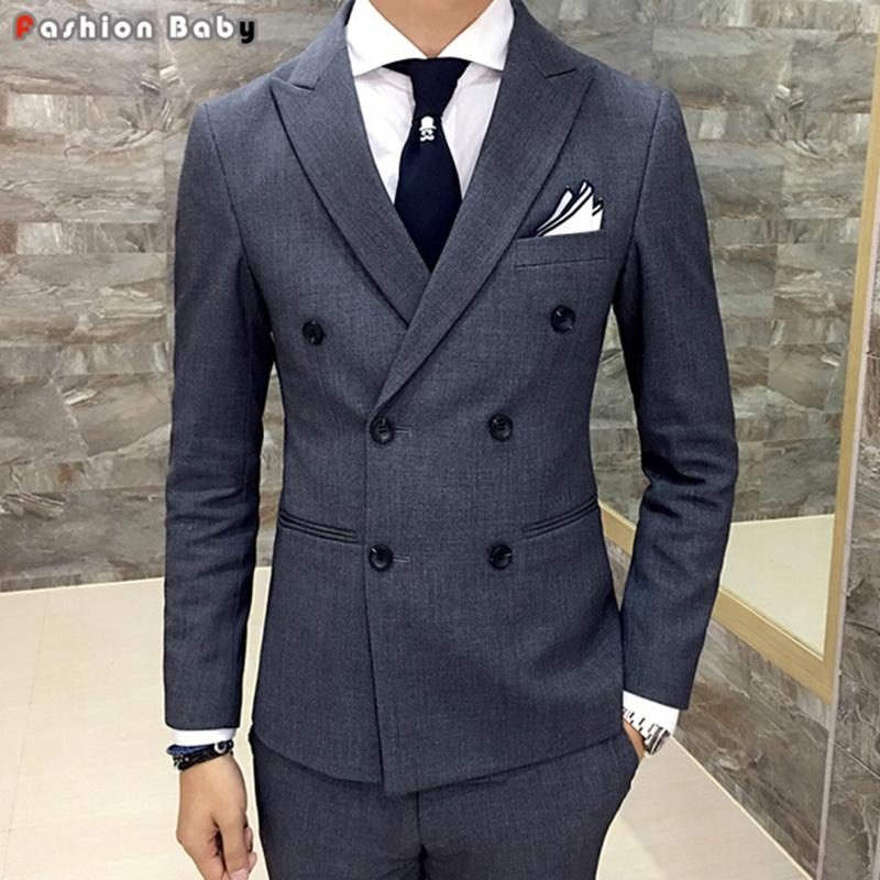 2018 Wholesale Men\'S Wedding Gray Dress Casual Blazer Slim Fit 2016 ...