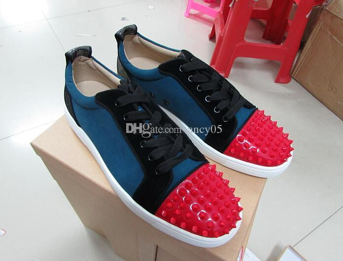 newest 313ba 21d80 New Fashion Low Top Spikes Toe Red Bottom Shoes For Men Women Designer  Patchwork 9 Color Leisure Footwear Party Shoes Drop Shipping