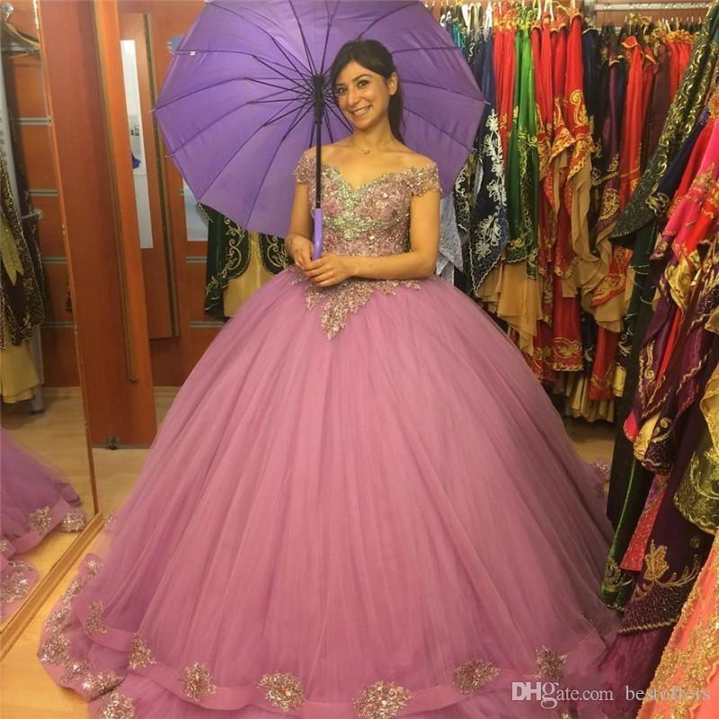 bf357f54ec Blush Pink Quinceanera Dresses Ball Gowns For 15 Girl 2017 Off The Shoulder  With Gold Appliques Beads Girl Prom Party Gowns Custom White And Purple ...
