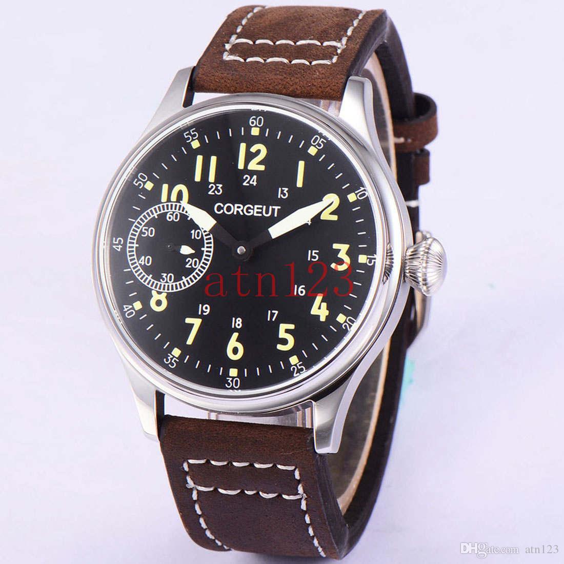 306ba153e16 Compre Corgeut 44mm Dial Preto Vintage Hand Winding 6497 Mechanical Mens  Watch 3ATM Water Resistance Rating Relógio De Pulso 1905 De Atn123