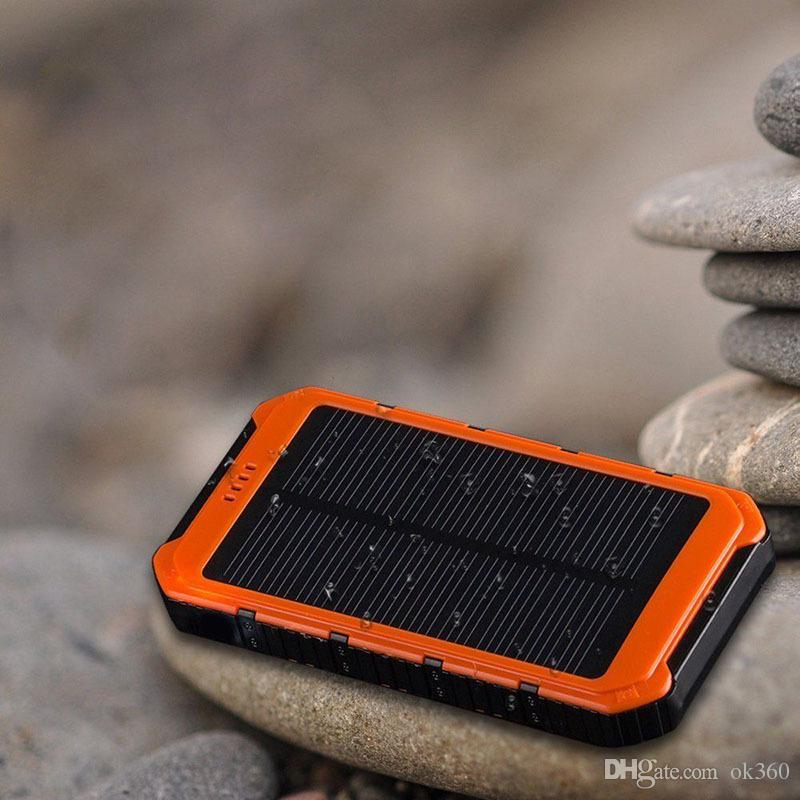 Ultra-thin Highlight 20000mAh solar Power Bank LED Solar Power Banks 2A Output Cell Phone Portable camping light Charger Solar Powerbank