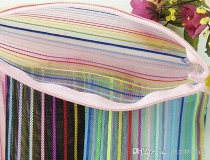 Seyahat Kozmetik çantaları şeffaf naylon örgü kozmetik Renkli Makyaj Çantaları Moda saklama torbaları güzellik durumda Düğün hediyeleri