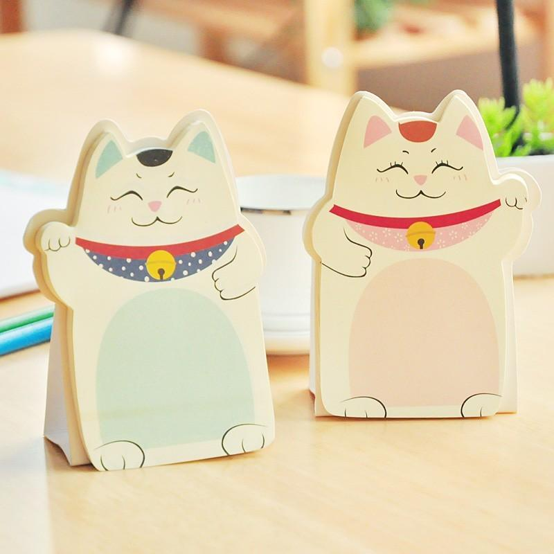 20 Pcs/Lot Fortune Cat Memo Pad Sticky Notes Notepad Wholesale Stationery Novelty Households Office School Supplies