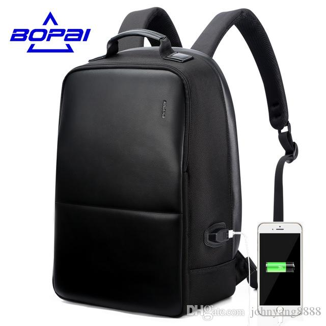 BOPAI Anti Theft Notebook Backpack External USB Port Men Leather Travel  Backpack Waterproof Laptop Backpack School Bag Mochila Hobo Bags Gym Bags  From ... 44d9b1ca99bb4