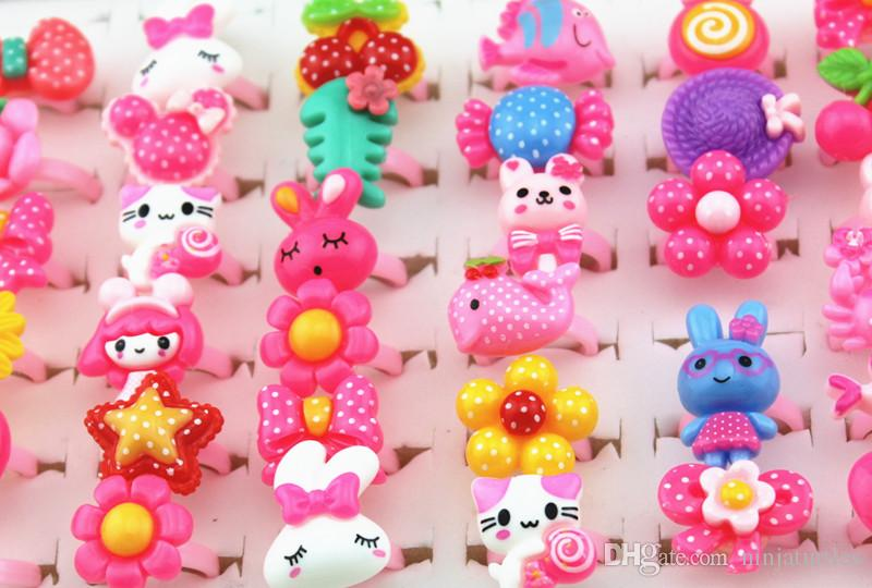 Jewelry Wholesale Baby Girl Mixed Lovely Candy Color Animals Flower Cartoon Rings Cute Kids Rings for Christmas gift MR124