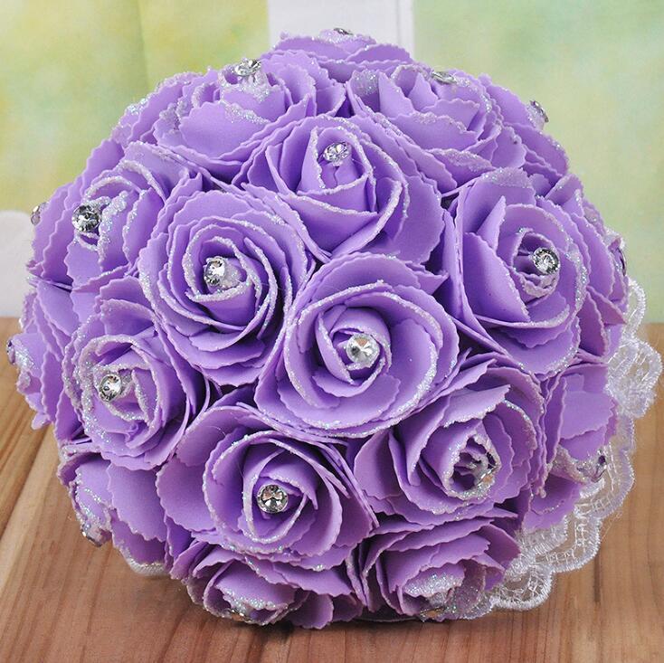 수제 꽃과 결혼식 신부 부케 크리스탈 라인 석 장미 웨딩 소모품 신부 들고 브로치 꽃다발 웨딩 꽃