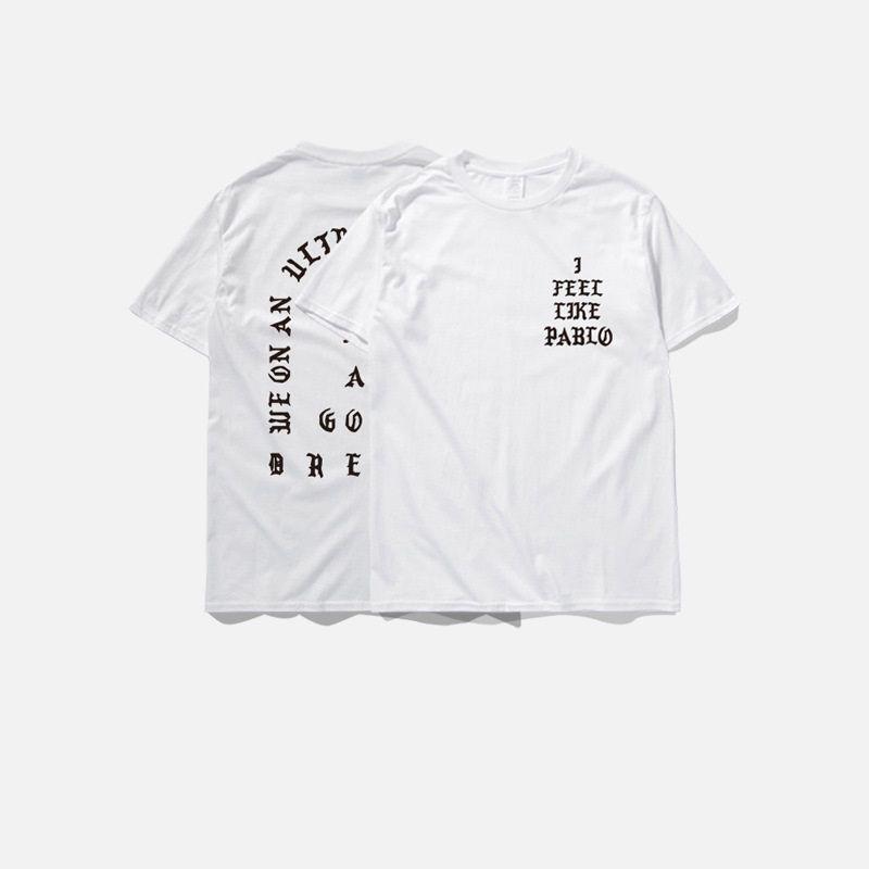 camisetas de los hombres de verano me siento como pablo Camiseta manga corta O-cuello Camiseta Kanye West Carta de impresión tees casual ropa masculina más talla 3XL