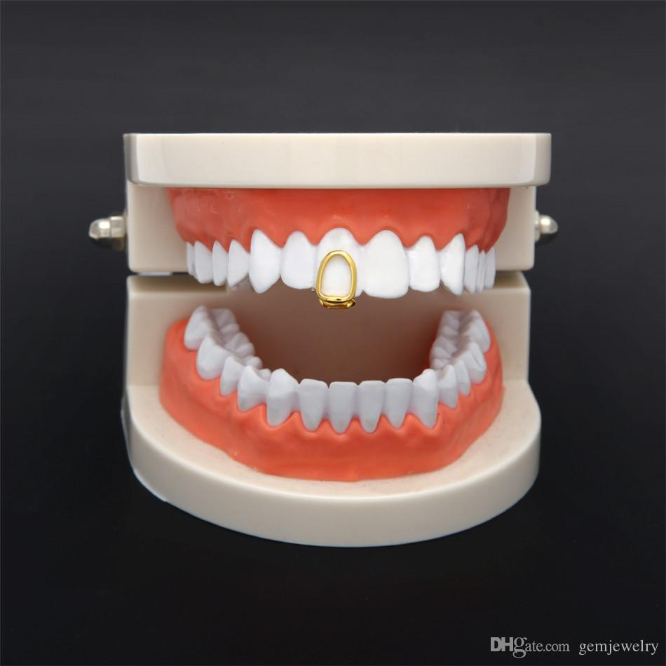 New Silver Gold Plated Hollow Hip Hop Single Tooth Grillz Cap Top & Bottom Grill for Halloween Fashion Party Jewelry