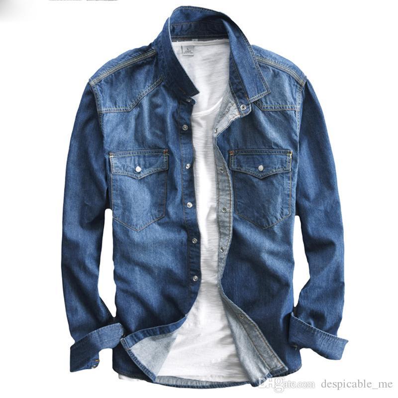 Designer Fit Slim Jeans Uomo Camicia Acquista Camicetta Manica Lunga zaqcX