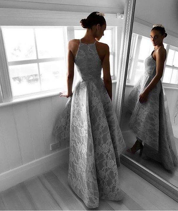 Steel Grey Hi-Lo Prom Dress Fashion Neckline Lace Applique Sleeveless Zipper Backless Party Dress Elegant A-line Pretty Women Evening Gowns