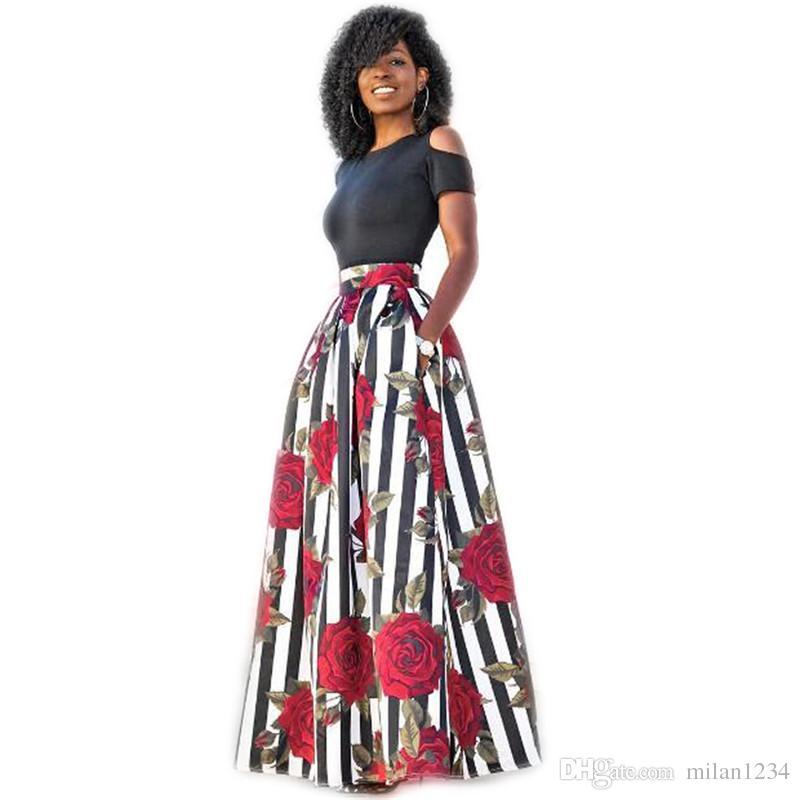 7b8ae033 Compre 2019 Faldas Con Estampado Floral De Las Mujeres Vestido Largo Hasta  El Suelo Traje De Dos Piezas Color Sólido Manga Corta Con Manga Corta O  Cuello Y ...