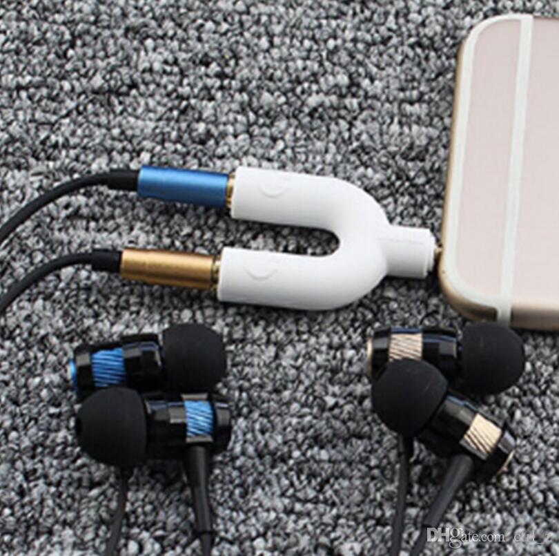 Novo u y tipo jack 3.5mm para dual 3.5mm cabo aux fone de ouvido seprator macho para fêmea de áudio estéreo fone de ouvido splitter adaptador
