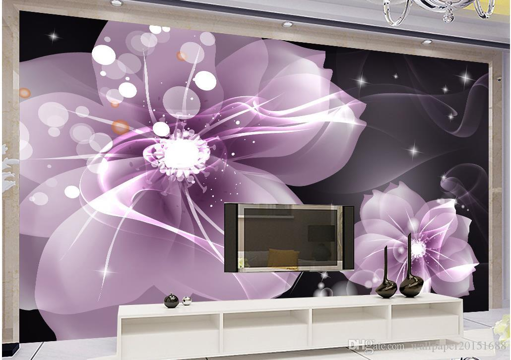 Modern simple purple transparent flower TV background wall mural 3d wallpaper 3d wall papers for tv backdrop
