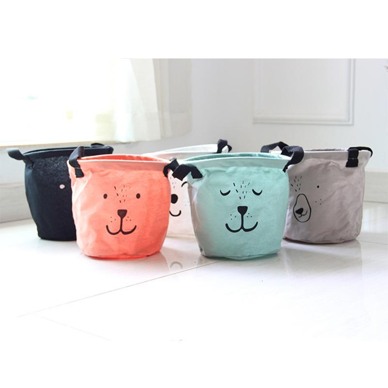 New Cartoon Aminal Face Linen Desk Storage Box Home Cotton Organizer Case Cloth Cosmetic Stationery Sundries Storage Box #94877