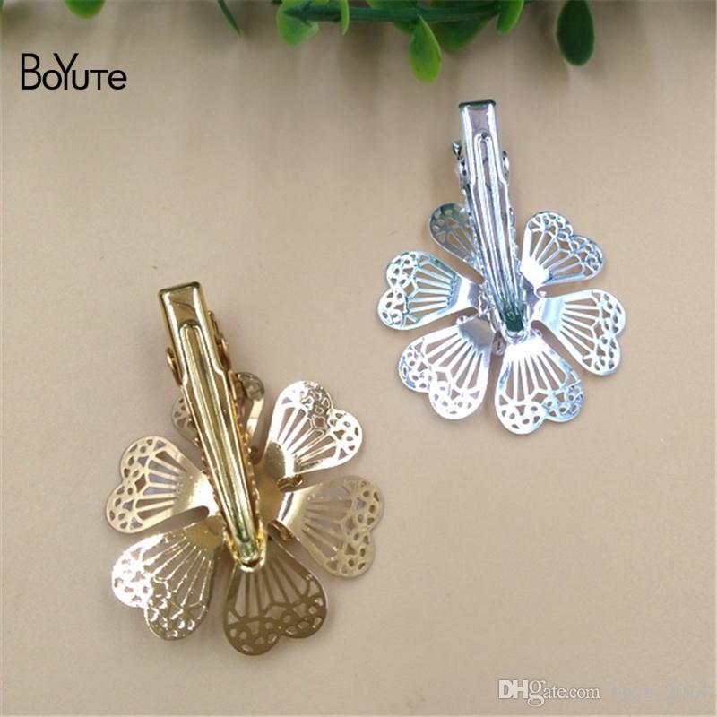 BoYuTe 32 MM CHAUDE vente Filigrane Fleur Pince à Cheveux Pin Femmes Argent Or Cheveux BRICOLAGE Bijoux Accessoires