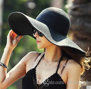 Fashion Sun Hat Women s Floppy Hats Foldable Wide Large Brim Floppy Bucket  Hat Summer Beach Sun Straw Hat Cap Sun Hat Straw Hat Floppy Hats Online  with ... c0816bb3002