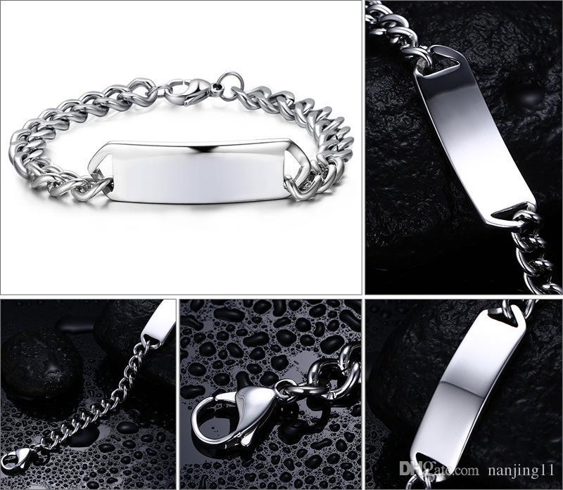 Cowboy edelstahl titanium personalisierte gravur charme kette armband armreifen großhandel modeschmuck für mann bR-002