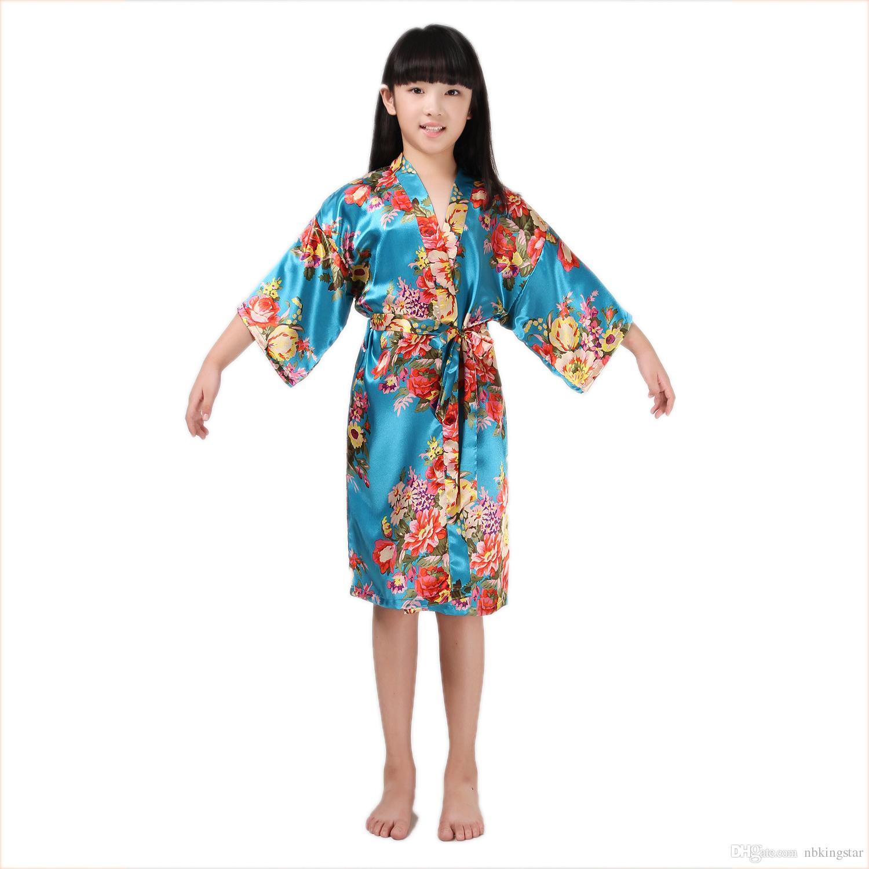 أطفال الحرير رايون كيمونو رداء الأزهار طباعة البشكير الأطفال ثوب النوم ل