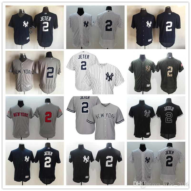 a73e909d7 ... 2017 Hot New York 2 Derek Jeter Gray With Gms The Boss Patch And White  Pinstripes Mens New York Yankees Authentic ...