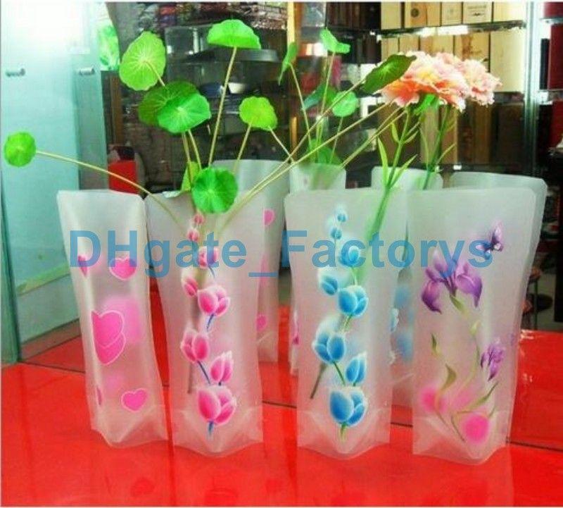 12*27cm Creative Clear Eco-friendly Foldable Folding Flower PVC Vase Unbreakable Reusable Home Wedding Party Decoration DHL DHFTY-031