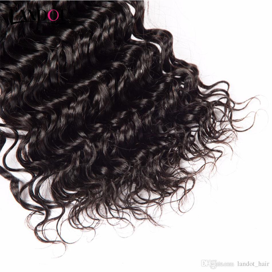 El cabello brasileño malasio peruano de la Virgen teje 3 paquetes con el cierre superior del cordón La onda profunda riza 8A Cierres camboyanos indios del pelo humano de Remy