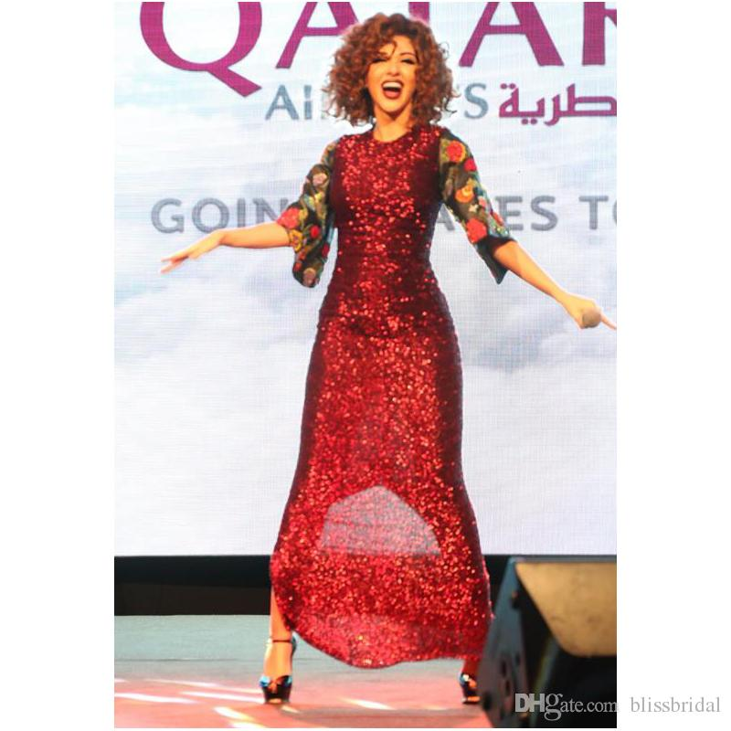 Myriam Fares Mermaid PetalPower Party Dresses Lebanon Singer Embroidery Half Sleeve With Flower Sequins Prom Gown Floor Length Evening Dress