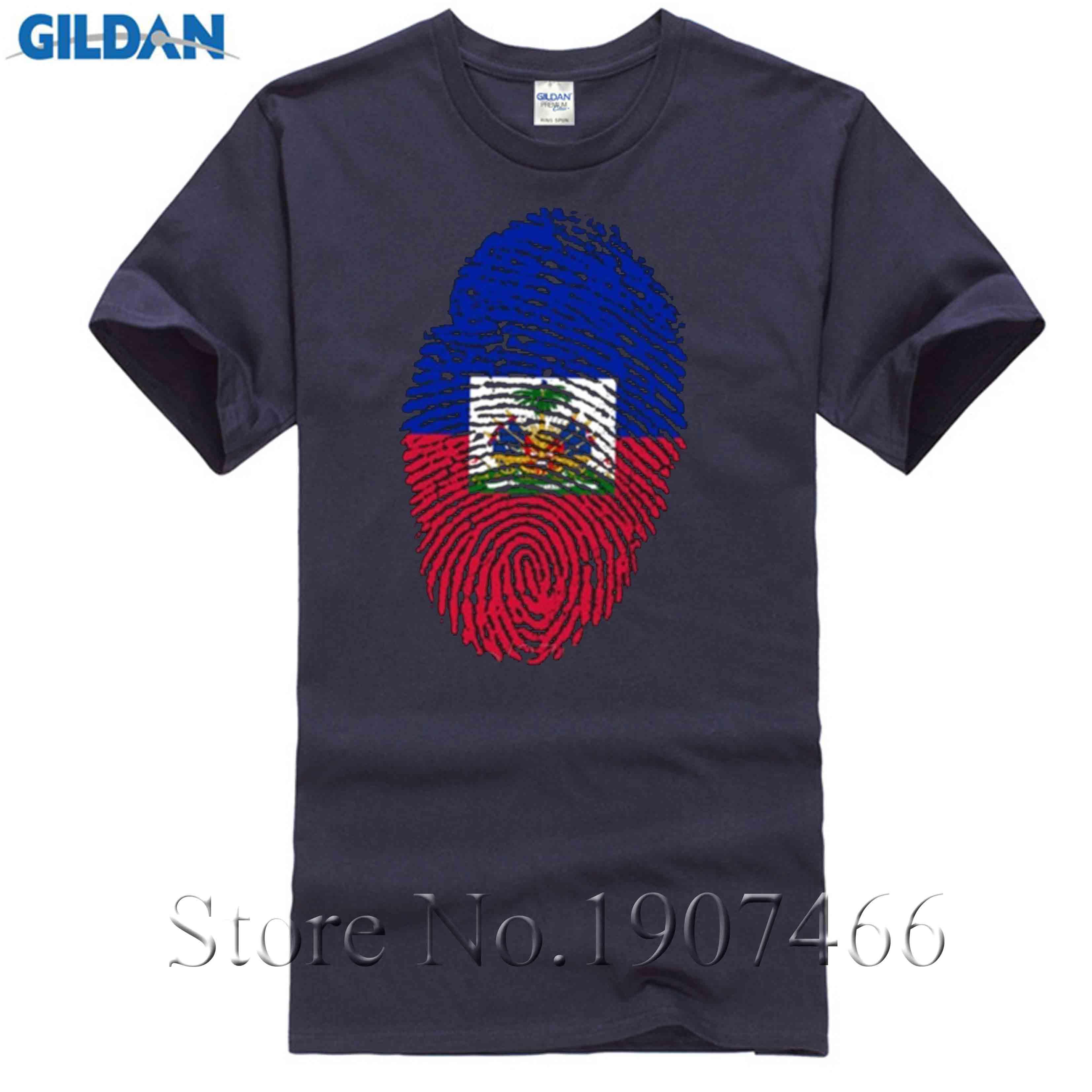 Men's Clothing Tops & Tees T Shirt Mens 3d Big Size Haiti Flag Fingerprint Wholesale Custom Work Tshirts Natural Cotton Short Sleeve Male Tees T-shirt