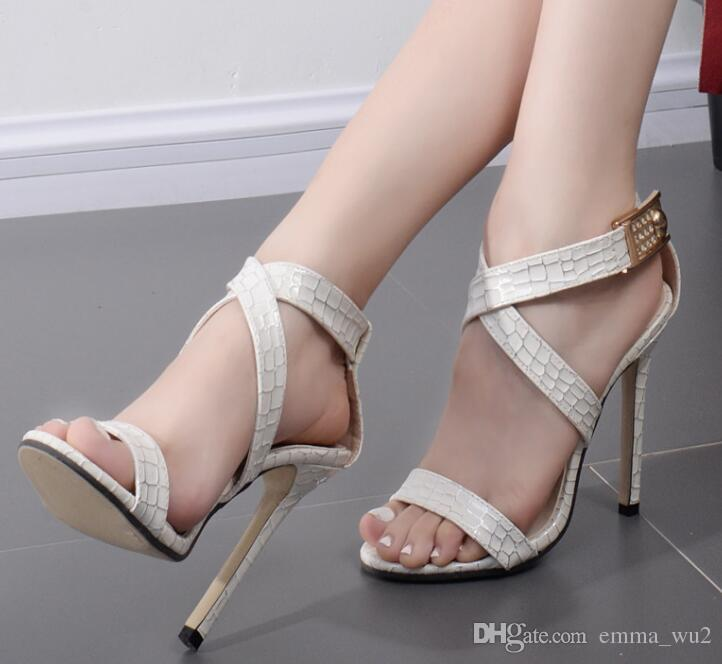 466d457bd34f79 New Summer Women High Heels Sandals Rhinestones Snake Grain Thin Heel  Stiletto Shoes Sandals Woman Sexy Peep Toe Size 35 40 Womens Sandals Sandals  For Men ...