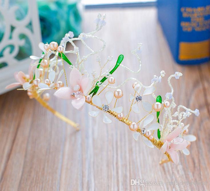 Mezze fiori fatti a mano perline Mezze corone da sposa Imposta acconciature d'oro la sposa Set di posticci della Boemia H37-2