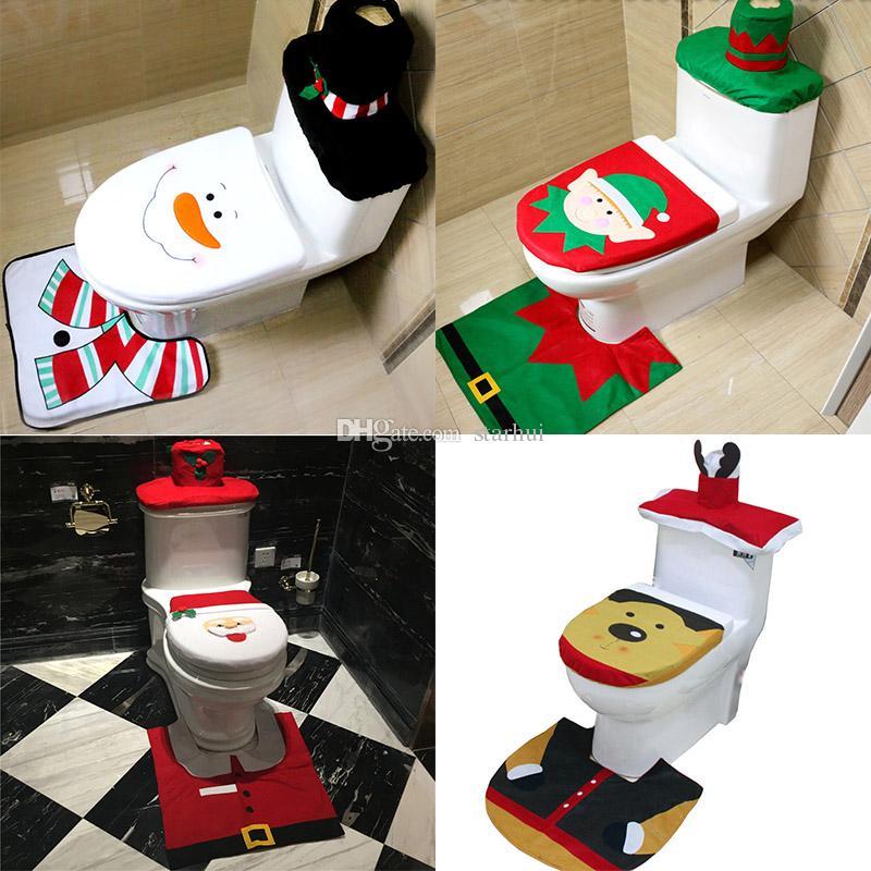 2018 Christmas Decoration Santa Elk Elf Toilet Seat Covers Rug Hotel Bathroom Set Xmas Gift Wx9 91 From Starhui 583