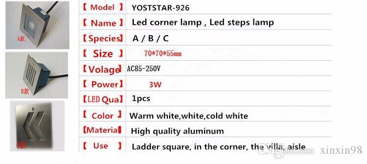Precio al por mayor 3W Square llevó la lámpara de la esquina AC85-265V / 12v Cool / Warm White bar / stage / garden floor Outdoor iluminación impermeable